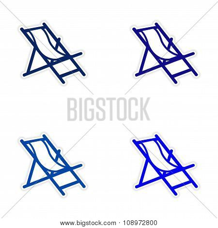 assembly realistic sticker design on paper deck chair
