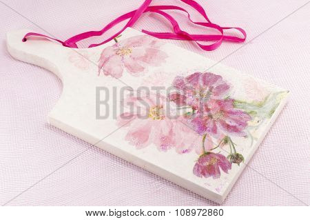 Decoupage Decorated Tray With Flower Pattern