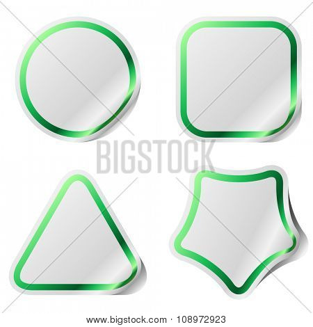 Blank stickers with green frame.