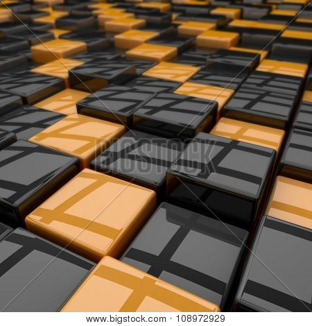 Black and yellow rounded cubes 3D background.