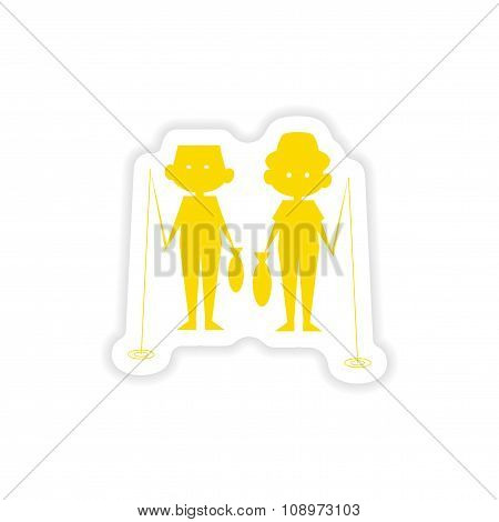 icon sticker realistic design on paper fishing boys