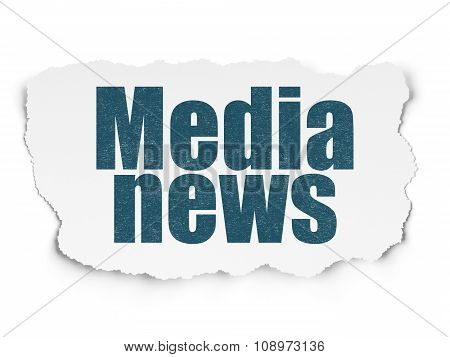 News concept: Media News on Torn Paper background