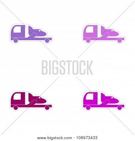 assembly realistic sticker design on paper car airplane delivery