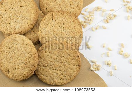 Integral Cookies And Wheat Plant Grains On A Table