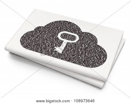 Cloud technology concept: Cloud With Key on Blank Newspaper background