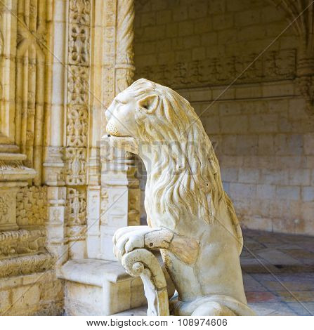 The Water Lion In The Beautiful Jeronimos Monastery In Lisbon