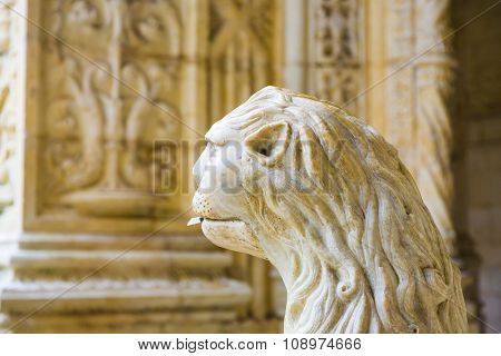 LISBON, PORTUGAL - DEC 27, 2010: the water lion in the beautiful Jeronimos Monastery in Lisbon Belem