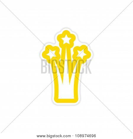 paper sticker on white background salute stars