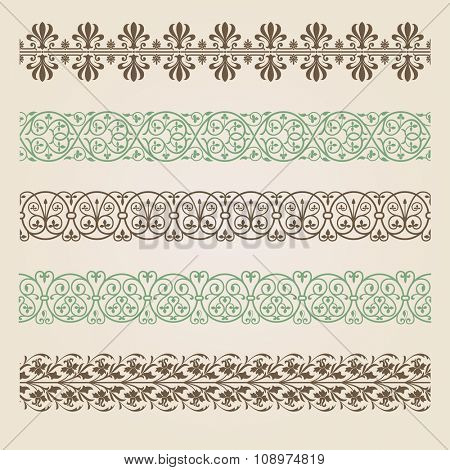 Decorative seamless borders set