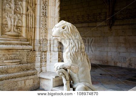 Water Lion In The Beautiful Jeronimos Monastery In Lisbon, Belem