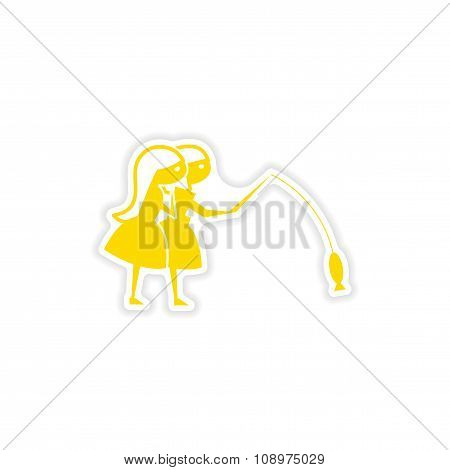 icon sticker realistic design on paper friend fishing