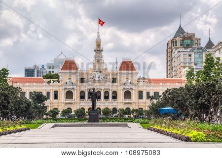 Ho Chi Minh City, Saigon/vietnam - Circa August 2015: Ho Chi Minh Memorial And City Hall, Ho Chi Min