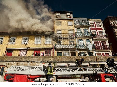 Firemen during work, Porto city