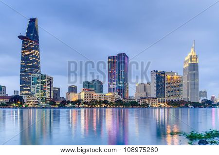Ho Chi Minh City, Saigon/vietnam - Circa August 2015: Lights Of Saigon Downtown Skyline Are Reflecte