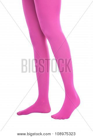 Woman legs in pink tights.