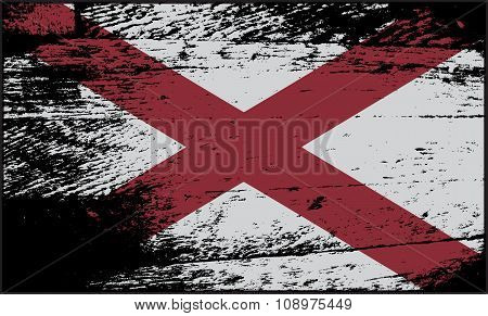 Alabama State Flag Grunged
