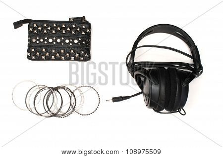 Studded Wallet With Bracelets And Headphones