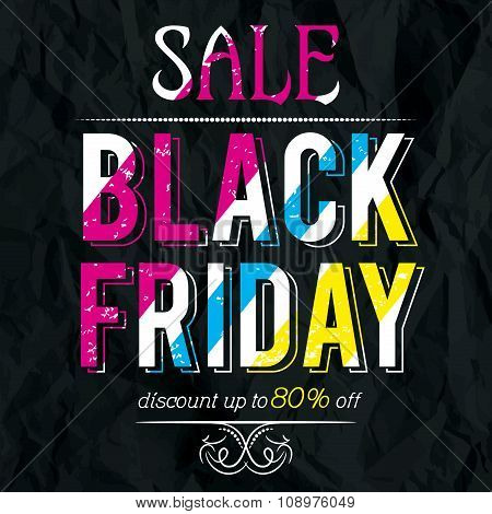 Black Friday Sale Banner On Crumple Paper, Vector