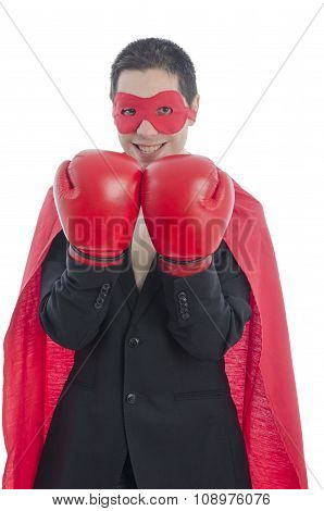 Man In Suit With Red Boxing Gloves, Red Cape And Mask
