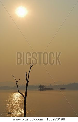 Beautiful View Shadows Light Long-tailed Boat Sunrise In Dam Srinakarin National Park Kanchanaburi,