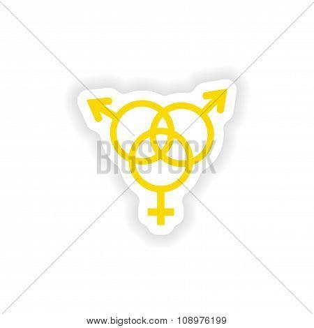 icon sticker realistic design on paper sex group