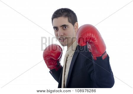 Man In Suit With Red Boxing Gloves