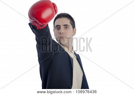 Man In Suit With Red Boxing Gloves His Arm Extended To The Front