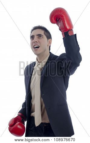 Man In Suit With Red Boxing Gloves Celebration His Victory