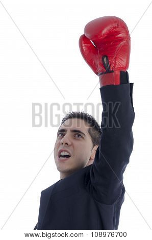 Man In Suit With Red Boxing Gloves Celebration His Victory.