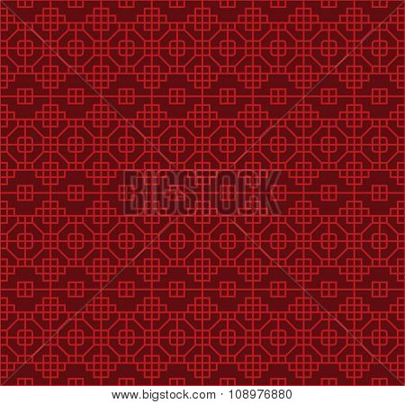Seamless Chinese style lattice square octagon geometry pattern background.