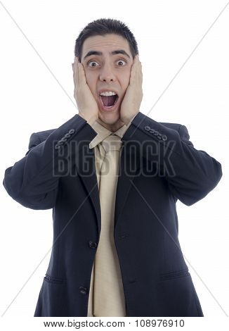 Man In Business Suit With His Hands On His Face Shouting In Desperation
