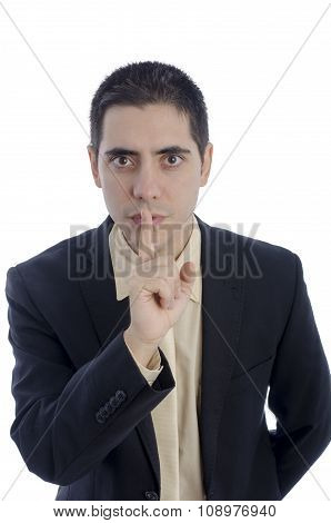 Man In Business Suit Asking For Silence Over White