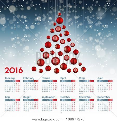 Calendar for 2016 Christmas design, week starts Monday, vector