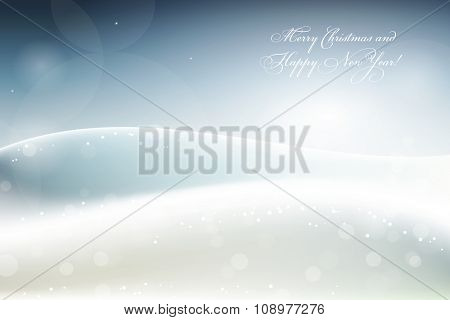 Merry Christmas and Happy New Year card with frosty winter landscape, vector illustration