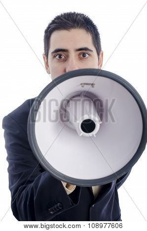 Man Dressed In Suit And Tie Shouting Through Megaphone.