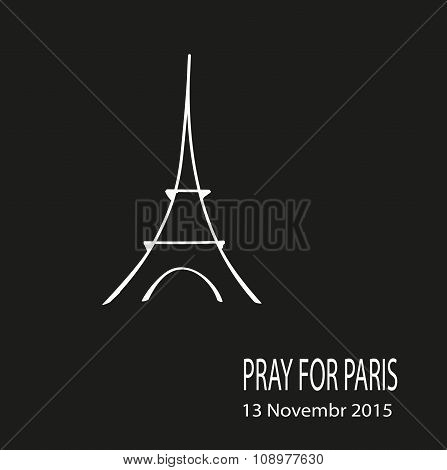 Freehand Sketch Illustration Of Pray Hands And Eiffel Tower , Doodle Hand Drawn, Peace For Paris, Pr