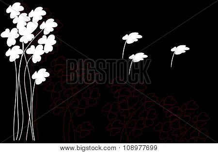 White Clover Flowers On A Black Background With Flying Branches