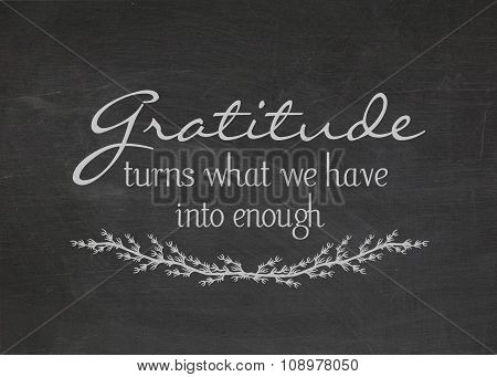 gratitude quote on chalkboard