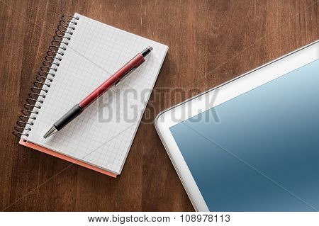 Business Work With Tablet, Pencil And Notepad