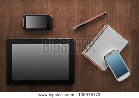 Business Work With Tablet, 2 Smartphones And A Notepad