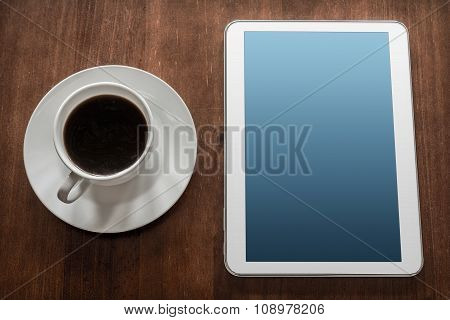 Business Work With Tablet & A Cup Of Coffee
