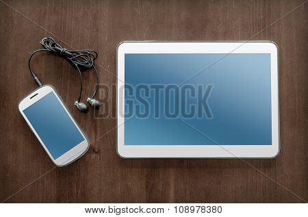 Business Work With Tablet, Smartphone And Headset
