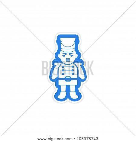 paper sticker on white background Christmas Nutcracker