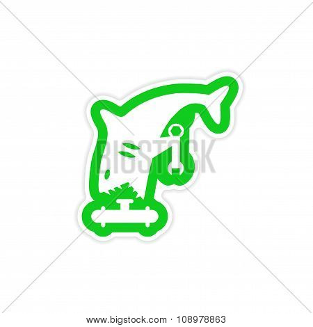 stylish paper sticker on white background shark plumber