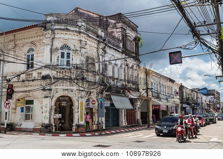 Old Town Phuket, Thailand - Circa September 2015: Streets Of Old Town Phuket, Phuket,  Thailand