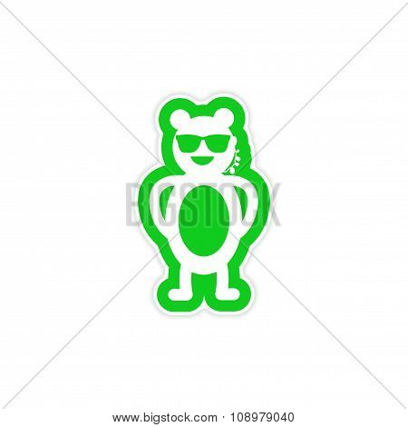 stylish paper sticker on white background bear security