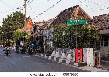 Yogyakarta, Indonesia - Circa September 2015: Street Of Yogyakarta Town,  Indonesia