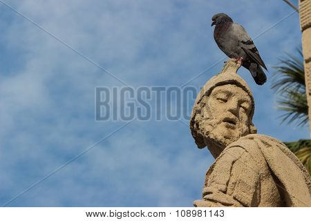 The Baroque Statue With Pigeon