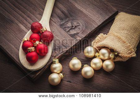 Christmas Ball On Spoon And Jute