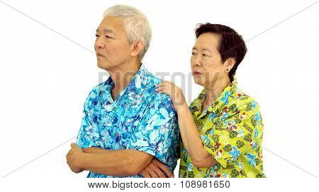 Asian Senior Couple Pouting And Try To Make Up After Fighting